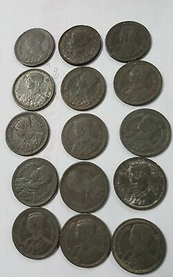 """Old RARE Coin Thailand Thai King Rame child """" Antiques Collection """" 15 coins"""