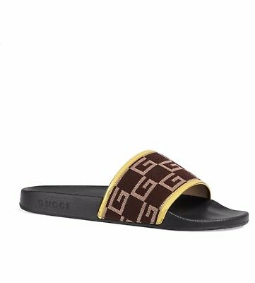 4211cf0caf55 NEW  370 GUCCI Pursuit GG Print Gold Brown Sandals   Slides Size 12 ...