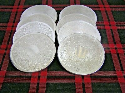 Silver Plated Drink Coasters Set of 8