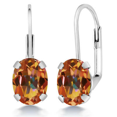 3.20 Ct Oval Ecstasy Mystic Topaz Silver Plated Brass Lever Back Earrings