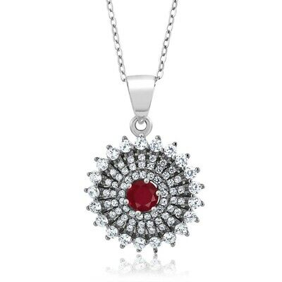 "1.62 Ct Round Red Ruby 925 Sterling Silver Pendant with 18"" Silver Chain"