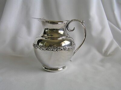 Vintage Silver Plated on Copper Decorative Water Pitcher Jug