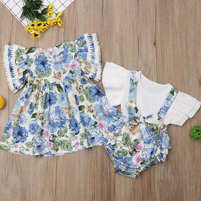Kid Baby Girl Sister Matching Flower Ruffle Dress Top Bib Pants Outfits Clothes