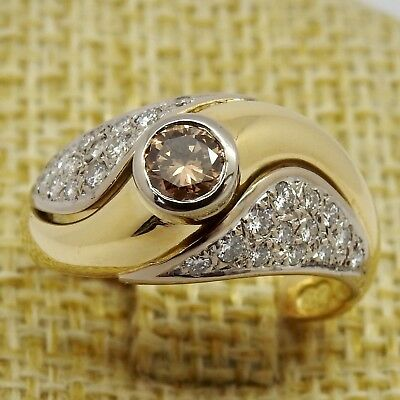 Ladies Heavy Handmade Solid 18ct Gold And Diamond Ring + Valuation Cert.