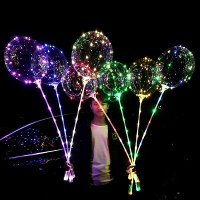 LED BoBo Balloon Lights Transparent 18inch Colorful Luminous with Stick Party