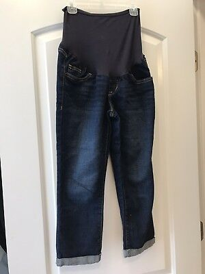 Old Navy MATERNITY Jean Capris Dark Wash Full Panel Size 4