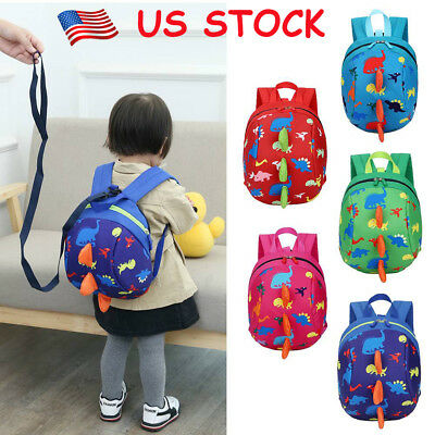 Toddler Kids Backpack Anti-lost Band Children School Bag Dinasour Cartoon New US
