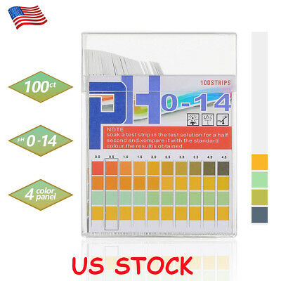 100pcs PH Test Strips 0-14 Paper Tester Urine Saliva Water Indicator Litmus USA