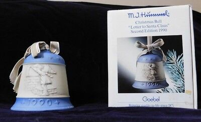 """M.J.Hummel 1990 Christmas Bell """"Letter to Santa Clause"""""""
