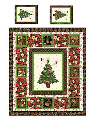 Miniature Dollhouse Christmas Tree Quilt Top Computer Printed Fabric 2 pillows