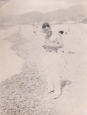 1950s Nude muscle young man on the beach gay interest old Russian photo