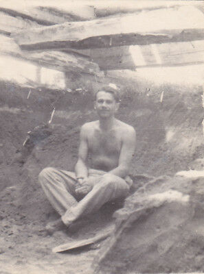 1950s RARE Semi-nude muscle handsme man on the ground vintage Russian photo