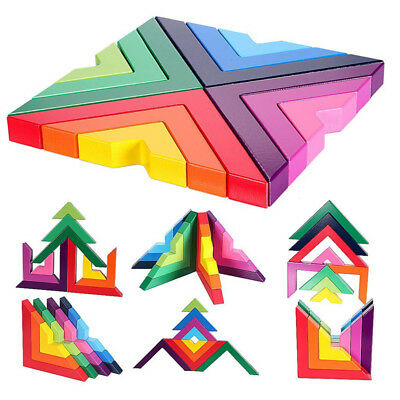Wooden Rainbow Stacking Game Stacker Geometry Building Blocks Nesting BS