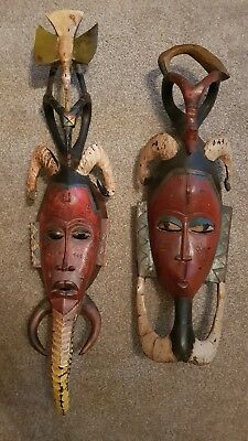 African Masks Carved Tribal Guro Masks  Pair (2 Pieces)  --- Coted'Ivoire