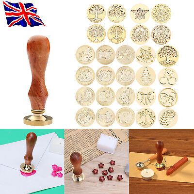 Classic Christmas Sealing Wax Stamps Invitation Letter Card Envelope Wood Handle