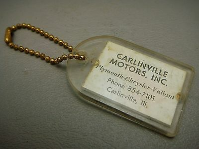 Vintage Key Ring Carlinville Motors Illinois Plymouth Chrysler Valiant Dealer