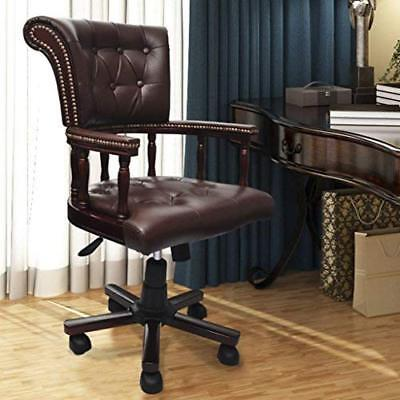 Executive Office Chair Armchair Leather Swivel Home Vintage Look Rolling Brown