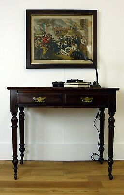 A Petite Victorian Two Drawer Writing Desk / Side Table