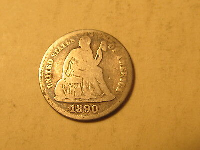 1890 Seated Liberty Dime in VG/G Very Good/Good Condition