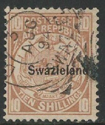 SWAZILAND: 1889-90 10s value FU with 1993 BPA Certif. Very rare. Details below