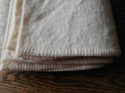 Vintage Cream 100% Wool Blanket