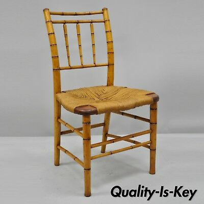 19th Century English Regency Style Faux Bamboo Woven Rush Seat Side Chair