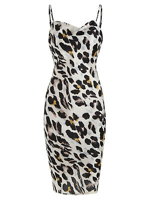 Women's Spaghetti Strap Leopard Print Dress Cami Spaghetti Strap Slip Dress S-XL