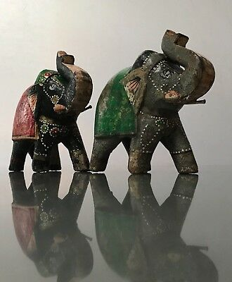 Vintage Indian Wooden Toys. Highly Decorative, Ceremonial Teak Baby Elephants.