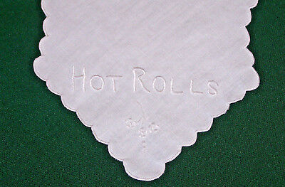 """VINTAGE EDWARDIAN ERA """"HOT ROLL"""" COVER, LINEN, WHITEWORK EMBROIDERY, c1920"""