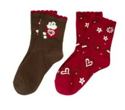 Gymboree NWT 2 pairs Brown Red ALPINE SWEETIE COCOA HEARTS DRESS SOCKS 3 4 Years