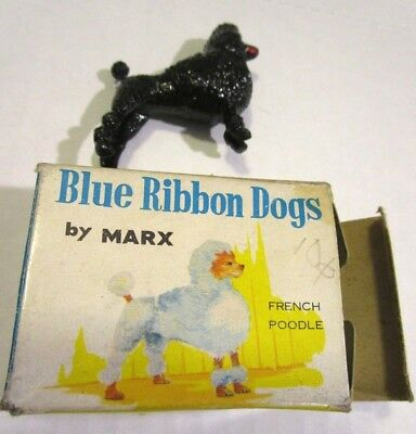 """c1950s Blue Ribbon Dogs by Marx in Box Miniature 2"""" BLACK FRENCH POODLE Toy"""