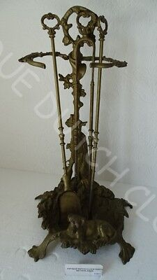 Brass Baroque Fireplace Tool Set Hunting Theme Game &  Rifle & Dog