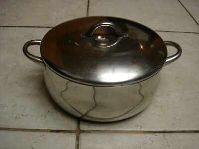 Silampos Domus Stainless Steel Casserole Stock Pot Sz. 4.6 Qt.  Made In Portugal