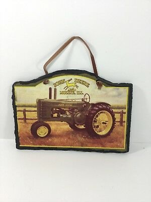 """John Deere Tractor Slate Wall Plaque, Evergreen, 6"""" x 8.25"""", by Charles Freitag"""