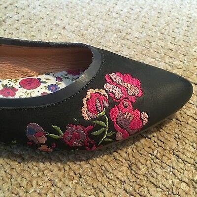Ladies Moshulu Indigo Flats With Pretty Floral Motif, UK Size 7, Worn Only Once.