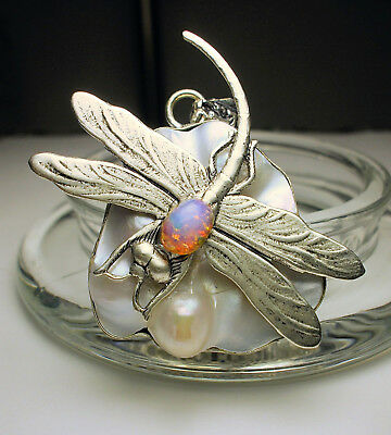 Art Nouveau Deco Style Antique Silver Dragonfly White Blistered Pearl Pendant