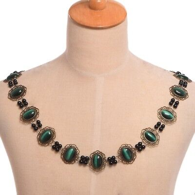 Renaissance Tudor Elizabethan Chain Office Livery Collar Costume Green Necklace