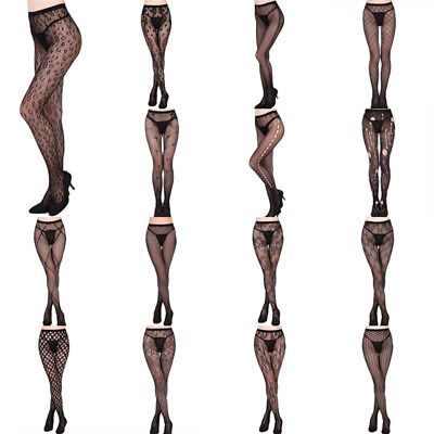 Women's Black Lace Fishnet Hollow Patterned Pantyhose Tights Stocking SS
