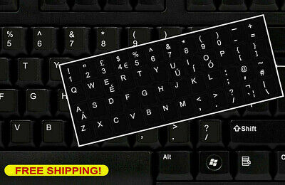 English UK Keyboard Replacement Stickers White on Black Any PC Computer Laptop