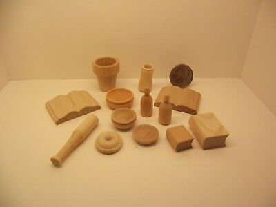 1:12 Scale Miniature Dollhouse Assorted Mixed Accessories Wood Items Lot #1