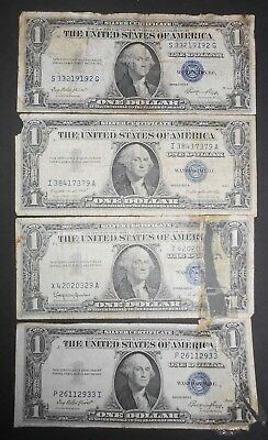 Lot of 4 US $1 Silver Certificates, Mistreated Lot,1957A,57B,1935E(2)  A1022