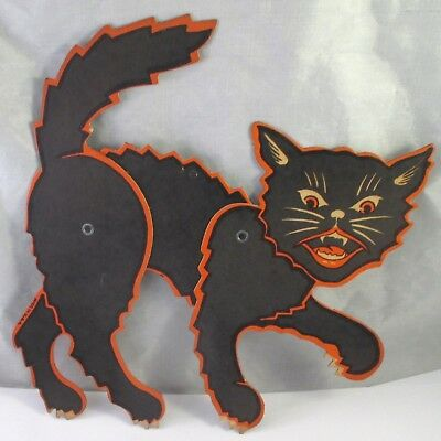 Vintage LUHRS JOINTED BLACK CAT DIE CUT HALLOWEEN DECORATION 7-1/4""