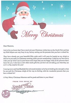 Personalised Letters + Envelope From Santa Claus - With North Pole Stamps