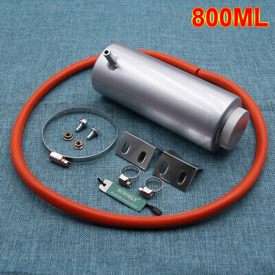 800ml Silver Cylinder Radiator Overflow Reservoir Coolant Cooling Tank Can
