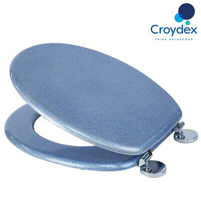 Universal Soft Close Toilet Seat Blue Glitter Quick Release Adjustable Hinges