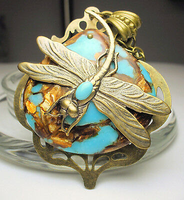 Art Nouveau Deco Style Antique Brass Dragonfly Turquoise Copper Pendant Necklace