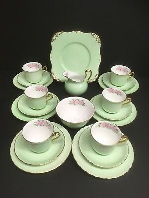 Tuscan Hand Painted Green Floral 21 Piece Tea Set