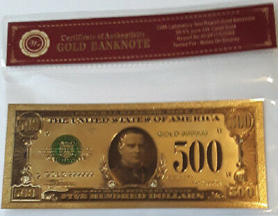 Cert Of Authenticity Gold United States$500 Banknote 99.9% 24Kt Gold Collectable