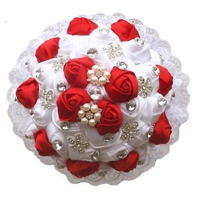 Wedding Bouquet Pearl Diamond Bead Brooch Satin Rose Flower Lace Stitch Bouquets