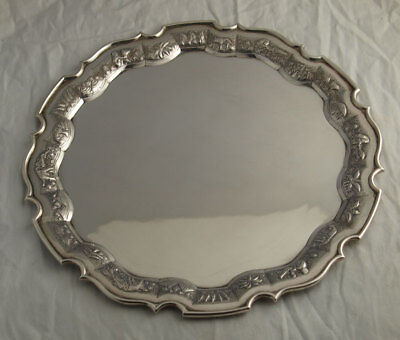 Fine Indian Solid Sterling Silver Drinks Tray - 745g